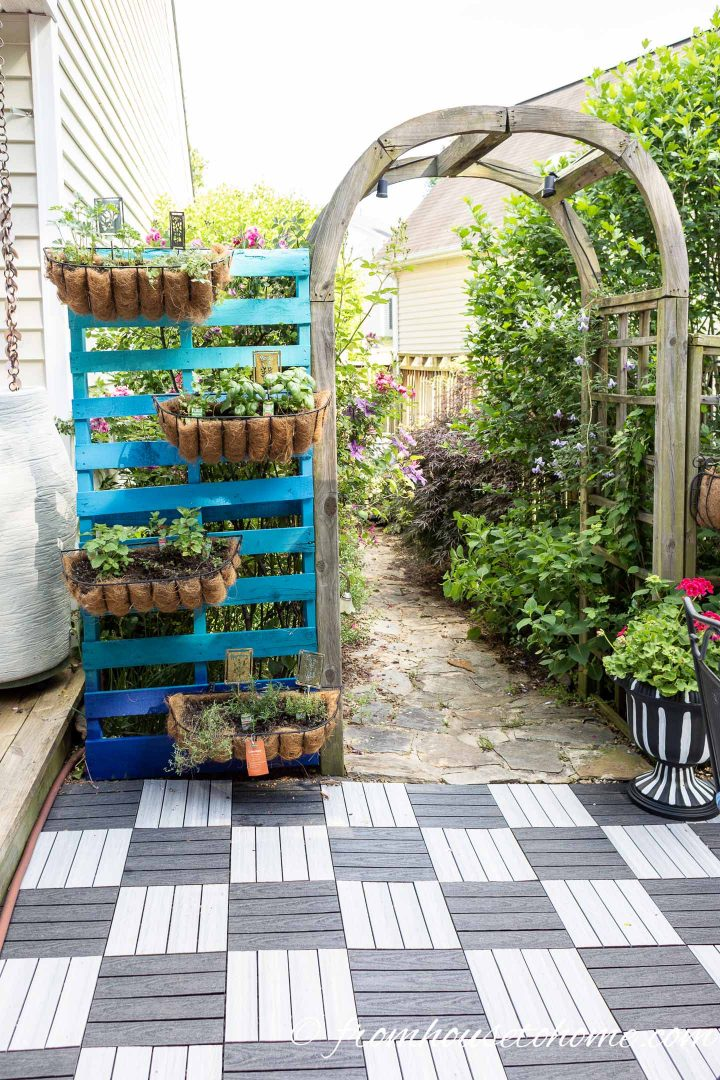 Pallet DIY vertical herb garden painted blue with window boxes