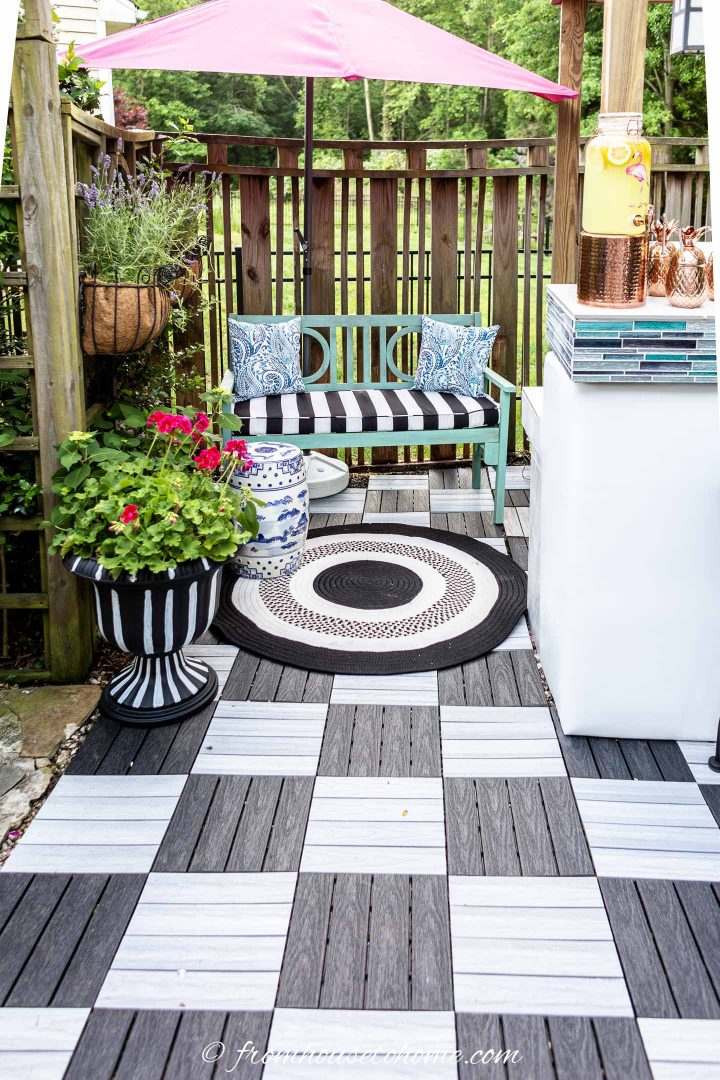 black and white deck tiles