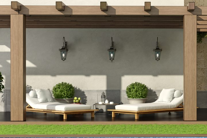 Pergola with wall sconces