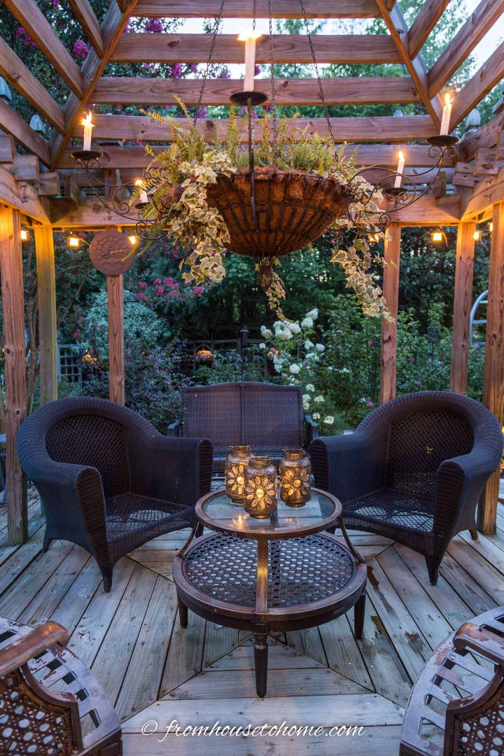 Gazebo with an outdoor chandelier with candles