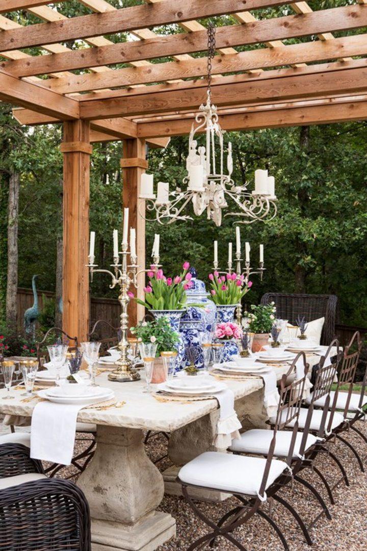 Pergola with outdoor chandelier