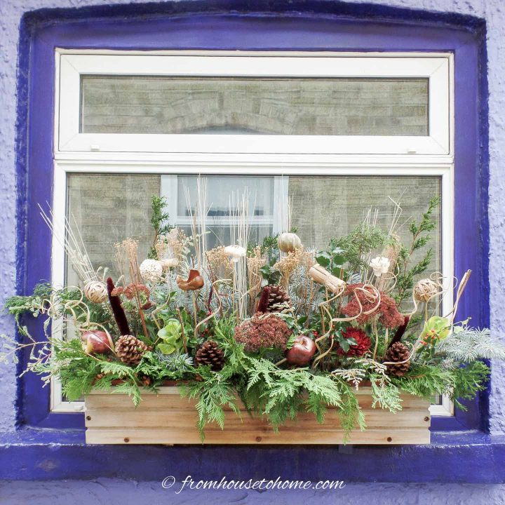 Winter window box made with evergreens, dried flowers, pine cones and apple picks