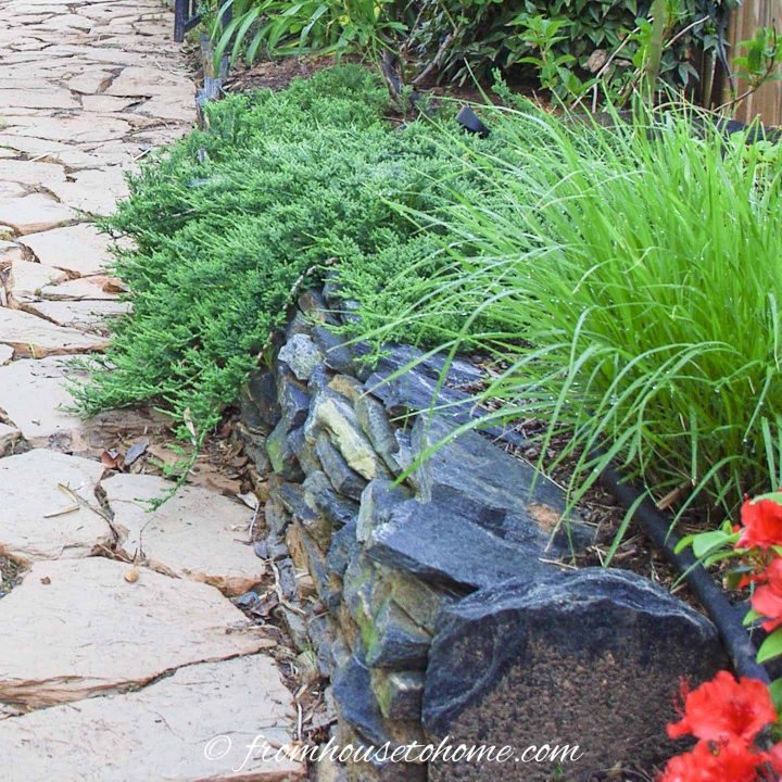Stacked flag stone raised bed in a shade garden bed