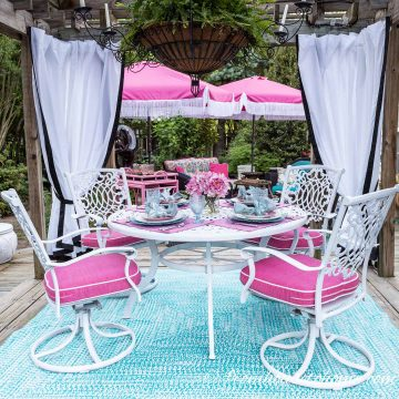 pink and turquoise deck decor