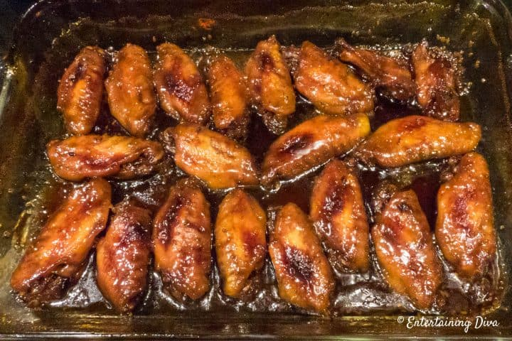 Baked sticky Chinese chicken wings with brown sugar, soy sauce and garlic