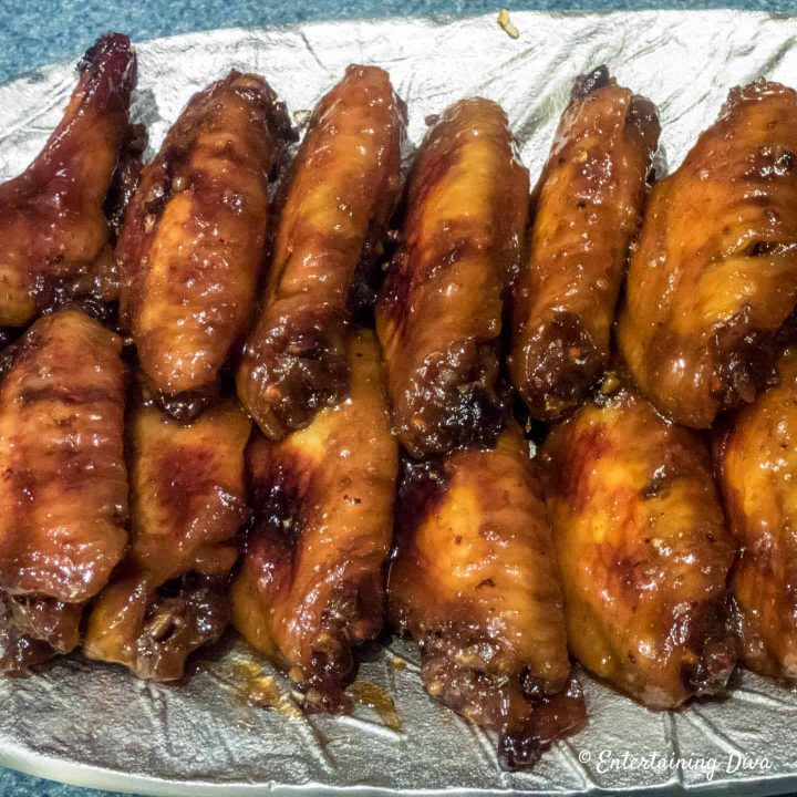 Easy baked sticky Asian chicken wings with brown sugar and soy sauce
