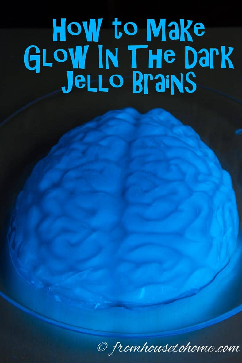 How To Make Glow In The Dark Jello Brains | www.fromhousetohome.com/recipes