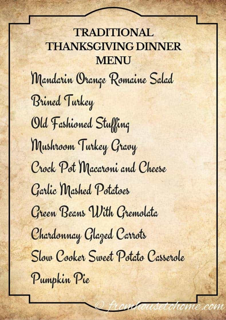Traditional Thanksgiving Dinner Menu and Recipes, with a printable menu card (great for dressing up your Thanksgiving dinner table) and cooking schedule to help make sure everything gets done on time