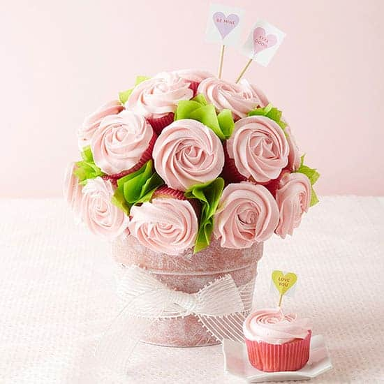 Cupcake rose bouquet Chocolate Chiffon Valentine Cake | Via Valentines Day Sweets and Treats at fromhousetohome.com