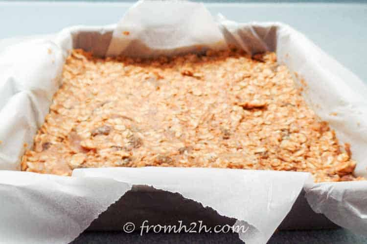 Press the granola bar ingredients into the pan | Sugar Free and Gluten Free Granola Bars