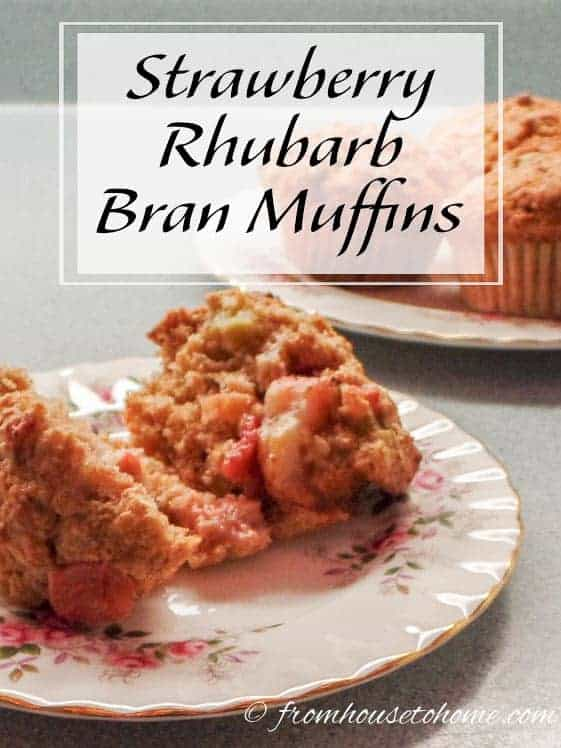 Strawberry Rhubarb Bran Muffins | These Strawberry Rhubarb Bran Muffins are a delicious version of the standard bran muffin. They're quick and easy to make, and can be frozen to serve later.