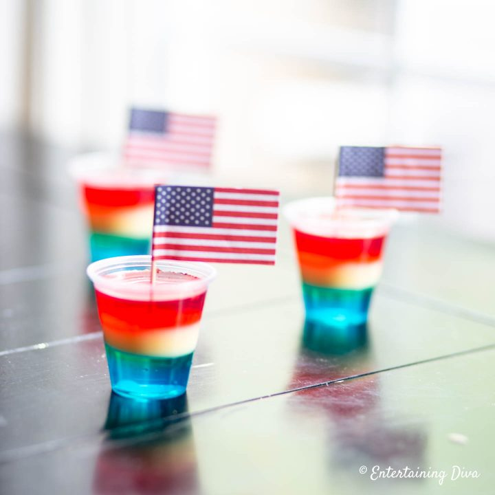 Red, white and blue layered jello shots