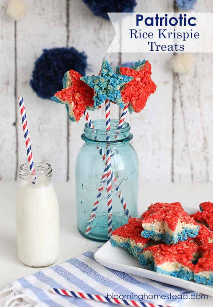 Patriotic Rice Krispie Treats (via bloominghomestead.com)