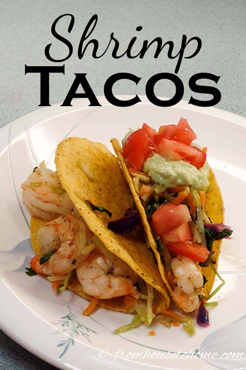 Shrimp Tacos | Looking for an easy, fast, delicious and nutritious meal? Shrimp Tacos are a take-off of the traditional beef taco, with less fat and fewer calories.