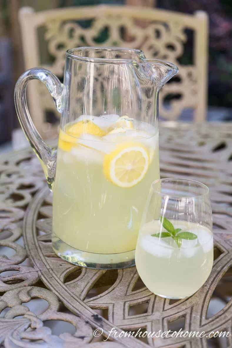 Homemade Lemonade in a pitcher and glass