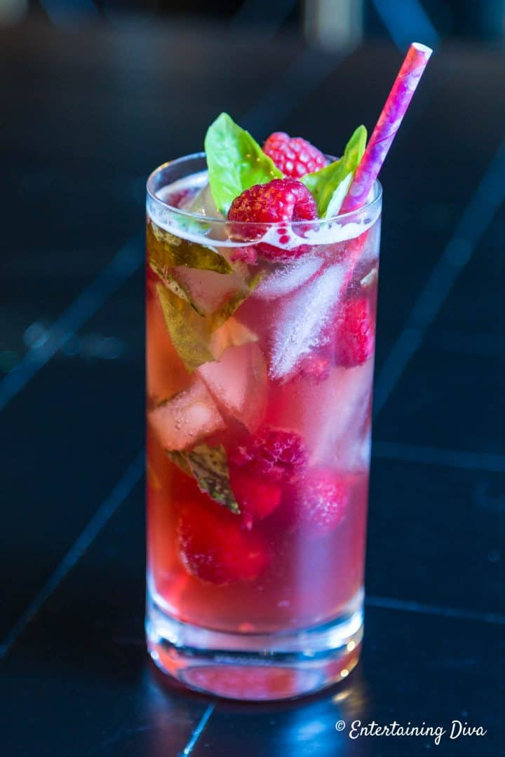 pomegranate basil mojito with rum