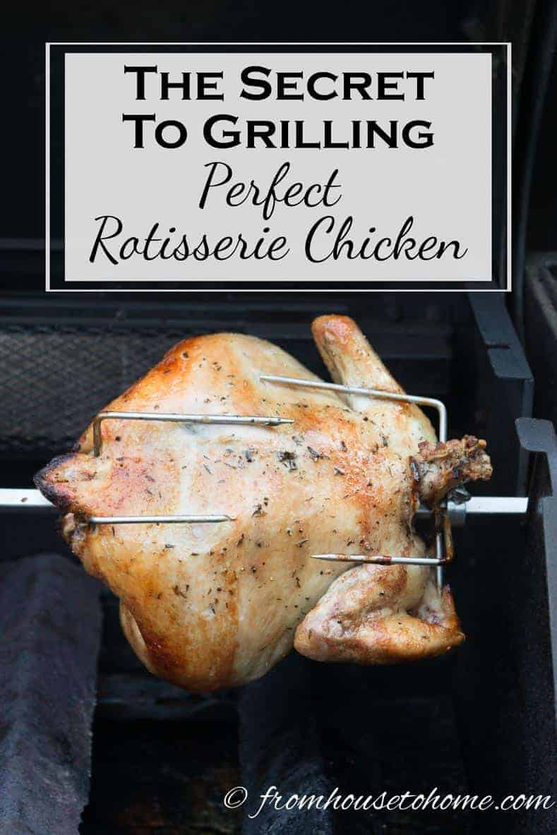 The Secret To Grilling Perfect Rotisserie Chicken | Want to learn how to make rotisserie chicken on the grill? Click here to get the easy recipe and see how it's done without burning the skin