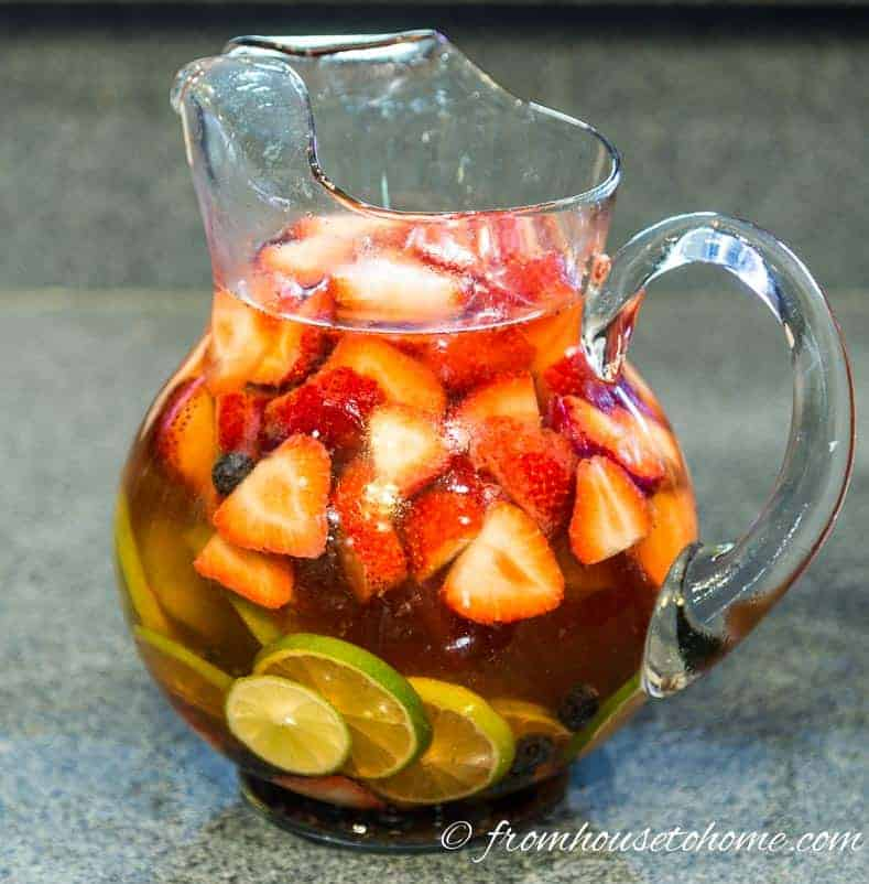 Mixing the fruit and wine in a pitcher lets you serve it in batches