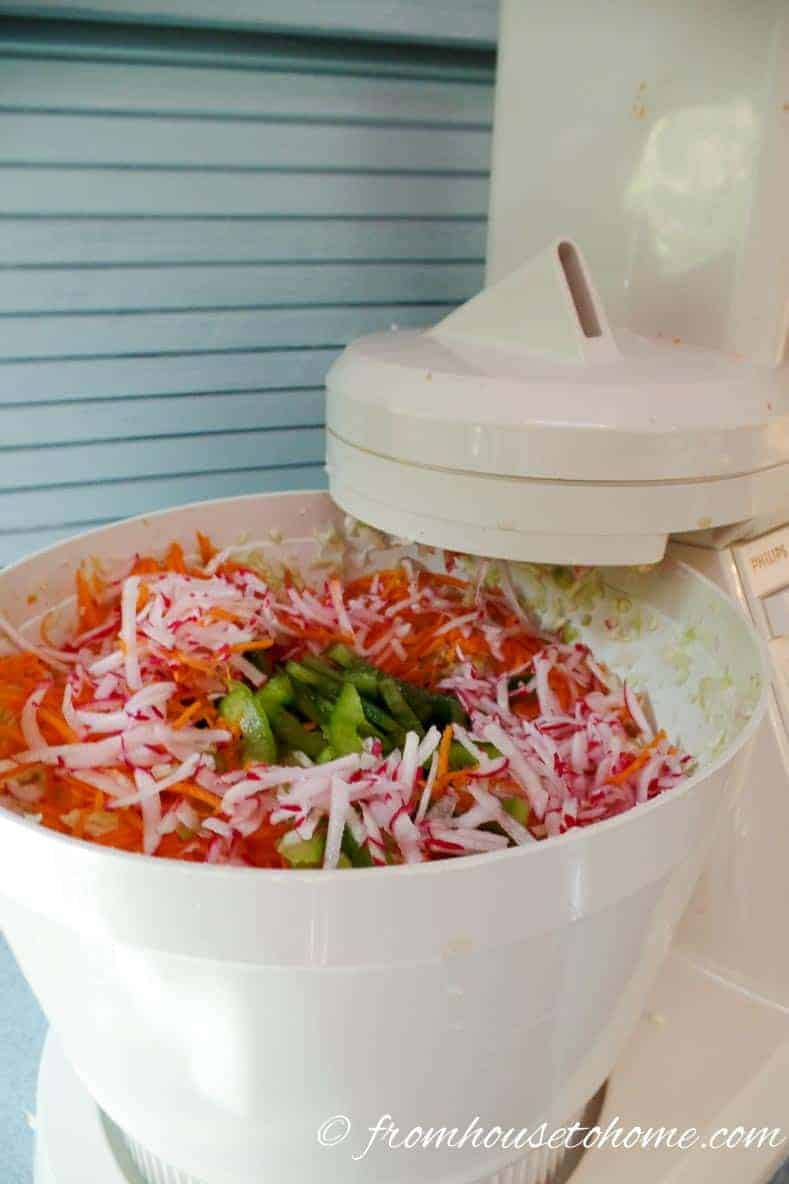 The food processor makes all the grating and chopping easier