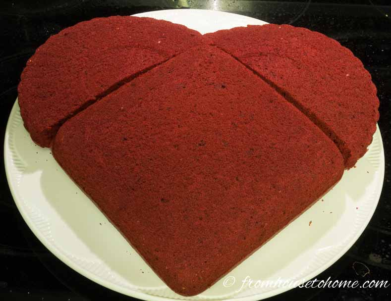 Don't worry too much if the cakes don't line up perfectly | How to make a heart shaped Valentine cake - I am by no means a talented baker, but even I can make this simple heart shaped cake! So if you are looking for desserts for your Valentine's Day romantic dinner, this cake is sure to turn out.