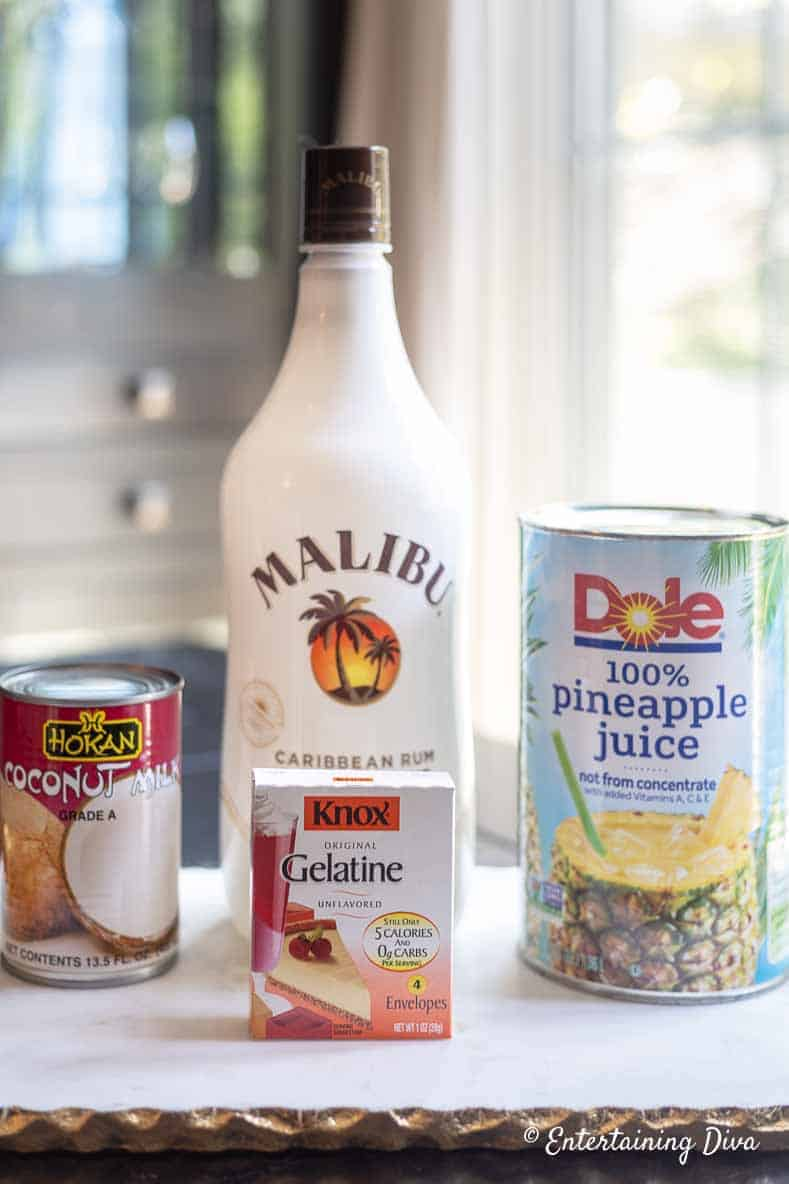 white pina colada jello shot ingredients