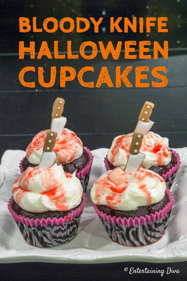 Bloody knife Halloween cupcakes
