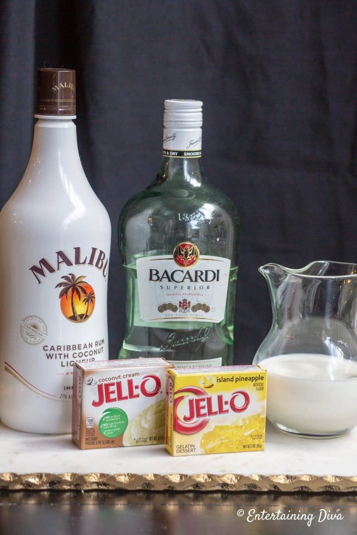 Layered Pina Colada Jello Shots Recipe Ingredients