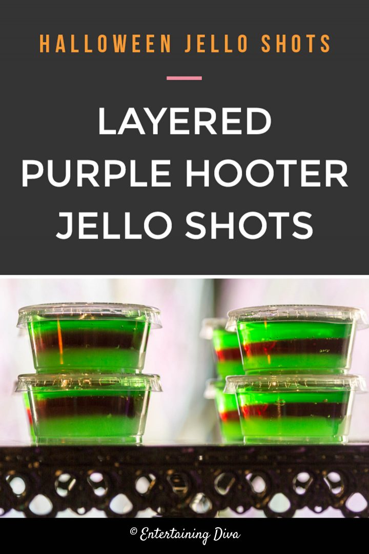 Halloween layered purple hooter jello shots