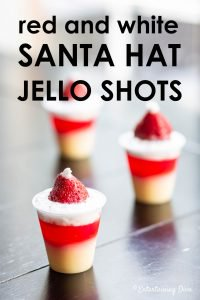 Red and white Santa hat strawberry shortcake jello shots