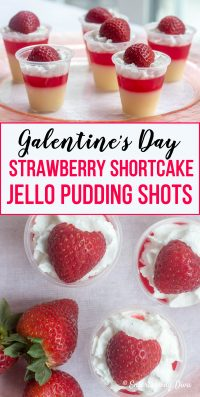 Red and white strawberry shortcake jello shots