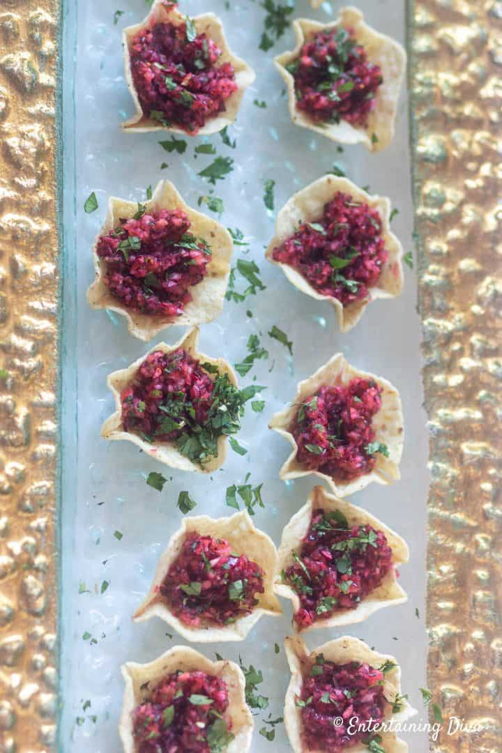 Cranberry salsa bites on a tray