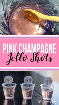 Pink champagne jello shots recipe collage