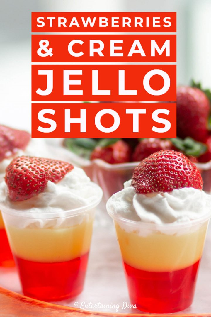 Strawberries & cream jello shots