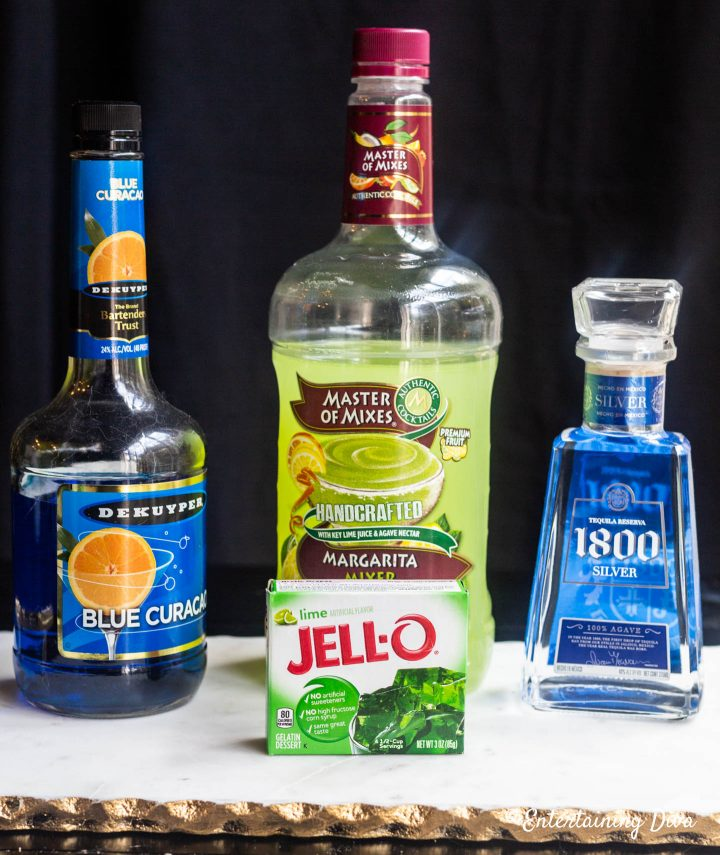 Blue Curacao and Tequila Margarita jello shots ingredients: Blue Curacao, Tequila, Margarita mix and lime jello
