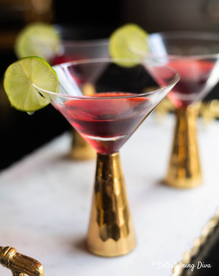 Cosmopolitan jello shots in martini glasses