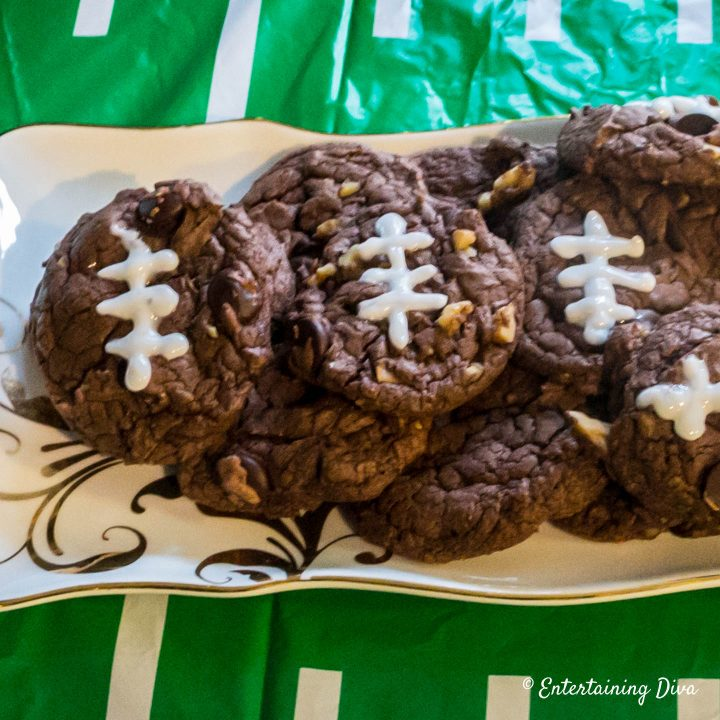 Game Day Football Brownie Cookies Entertaining Diva Recipes From