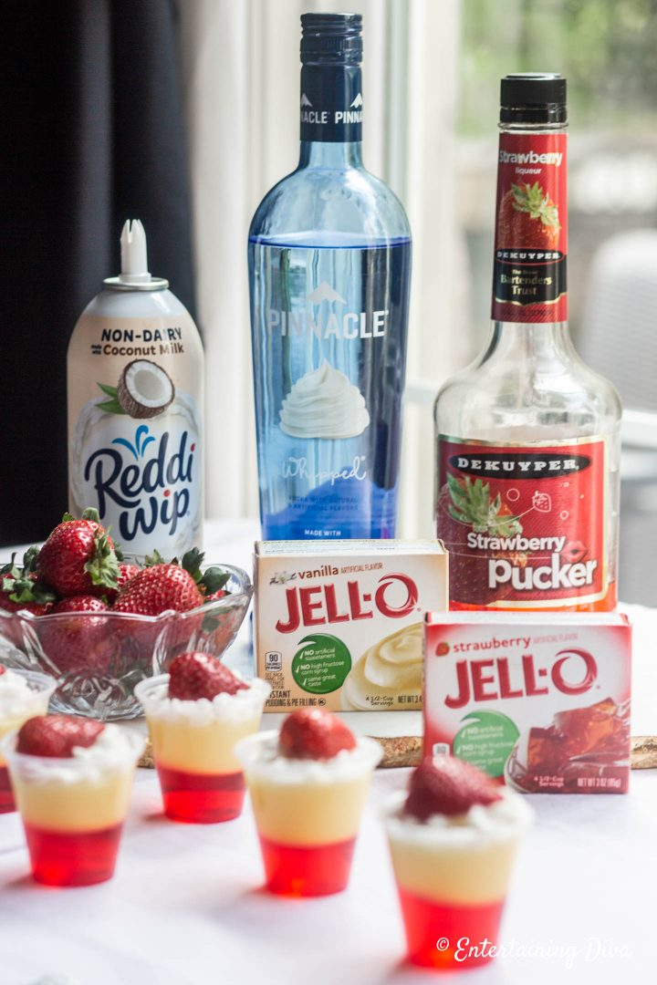 Strawberries and Cream layered jello shots ingredients