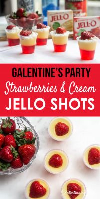 Galentine's Day party strawberries and cream jello shots