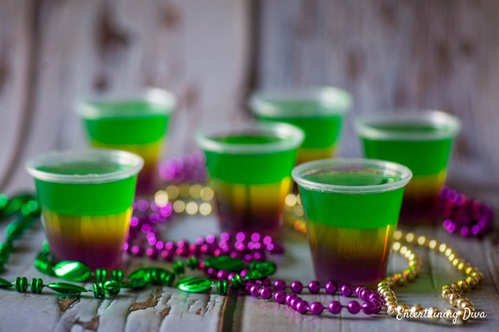 The purple, gold and green layers of the Mardi Gras jello shots recipe