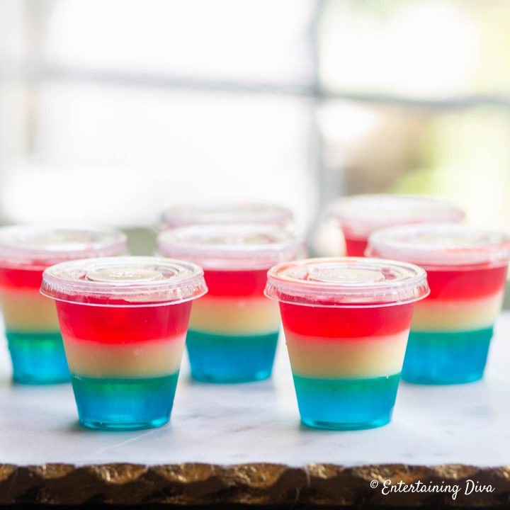 Tropical red, white and blue jello shots in jello shot cups