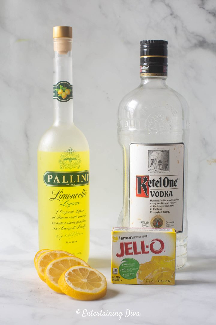 Lemon drop jello shot recipe ingredients - vodka, Limoncello, lemons and lemon jello