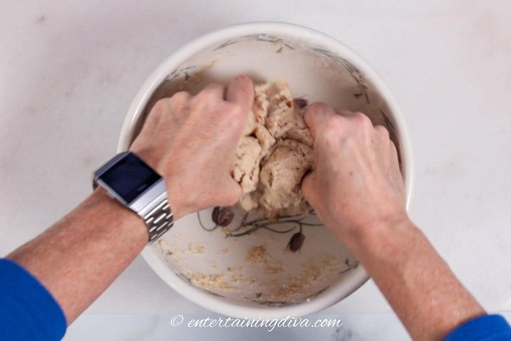 Forming a ball from the dough