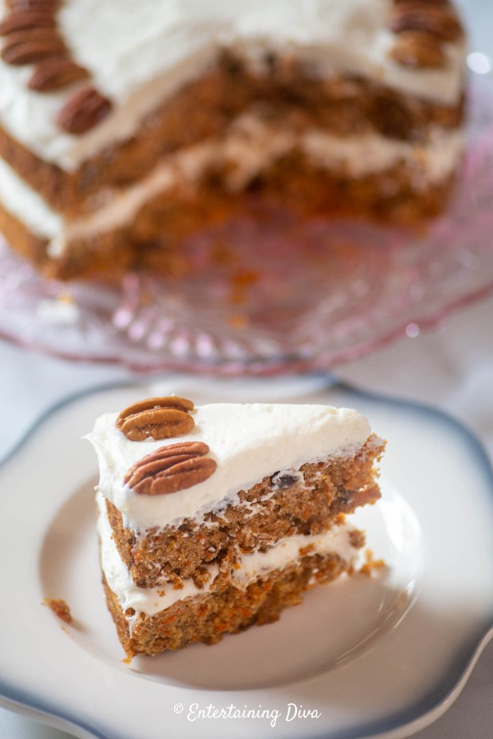 Classic carrot cake with cream cheese frosting as a layer cake