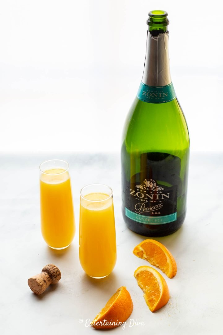 Mimosa ingredients - Prosecco and fresh-squeezed orange juice