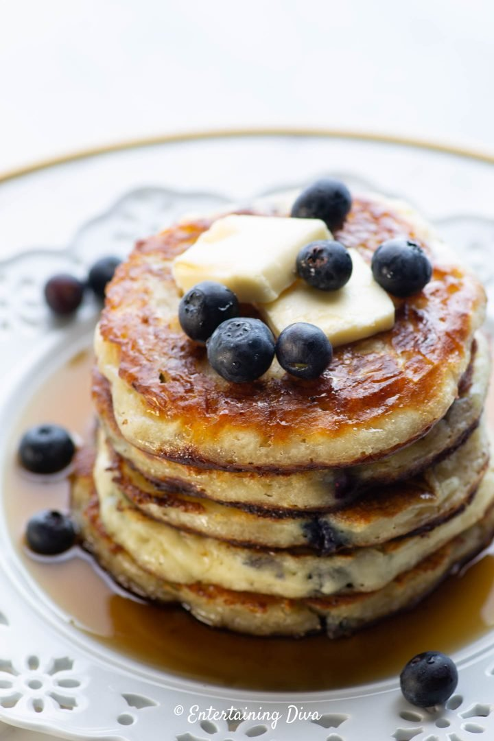 Blueberry buttermilk pancakes with maple syrup