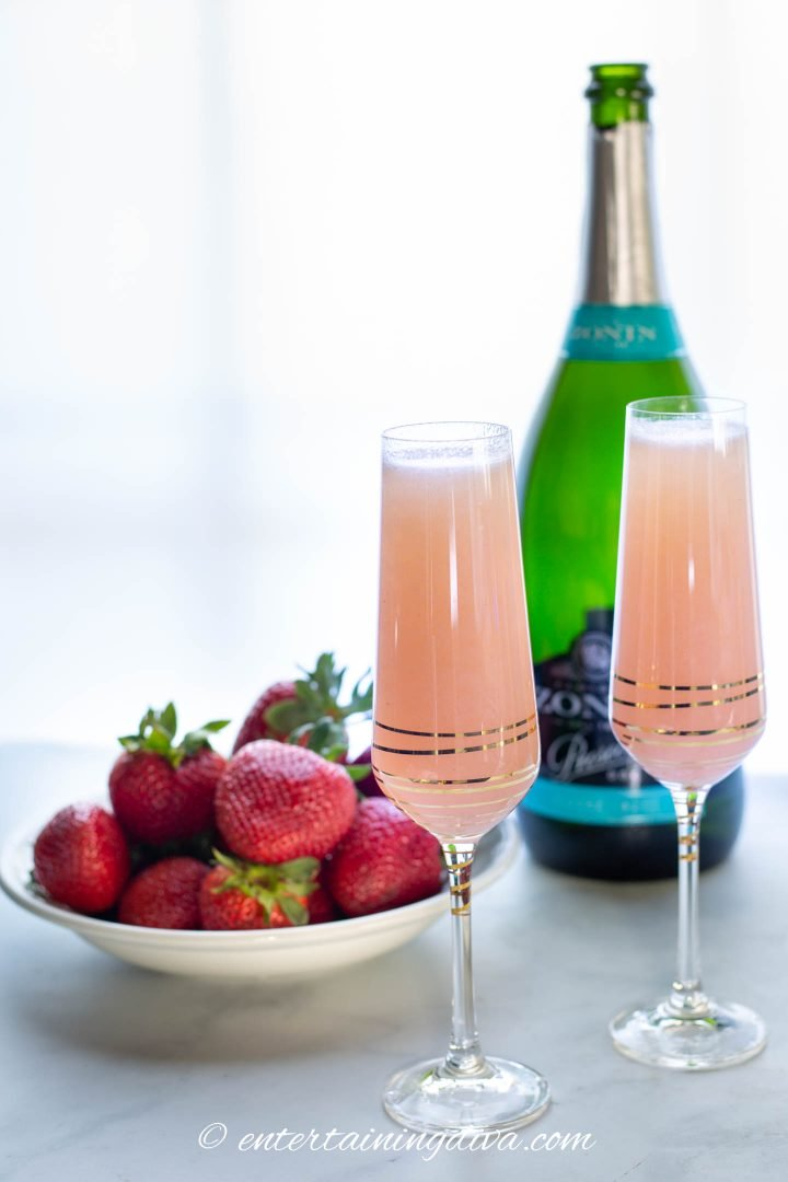 Strawberry Mimosas with ingredients