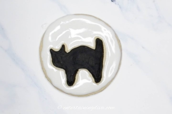 Black cat sugar cookie on the moon sugar cookie