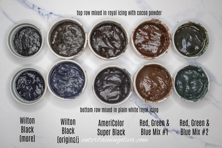 comparison of the different black food color options and how black the icing looks