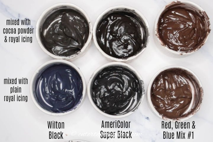 comparison of Wilton black, AmeriColor super black and homemade black food color in royal icing with and without cocoa powder