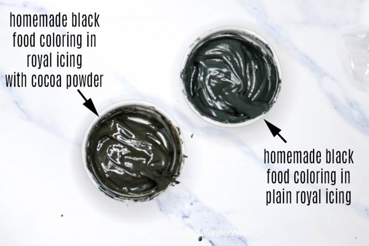 black royal icing made from homemade black food color with and without cocoa powder